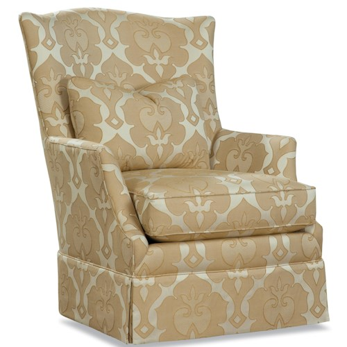 Huntington House 3368 Upholstered Chair with Tall Back, Flared Arms, and Skirt Base