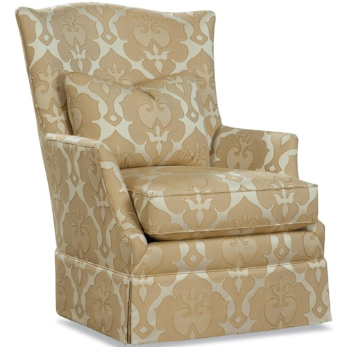 Geoffrey Alexander 3368 Upholstered Chair with Tall Back, Flared Arms, and Skirt Base