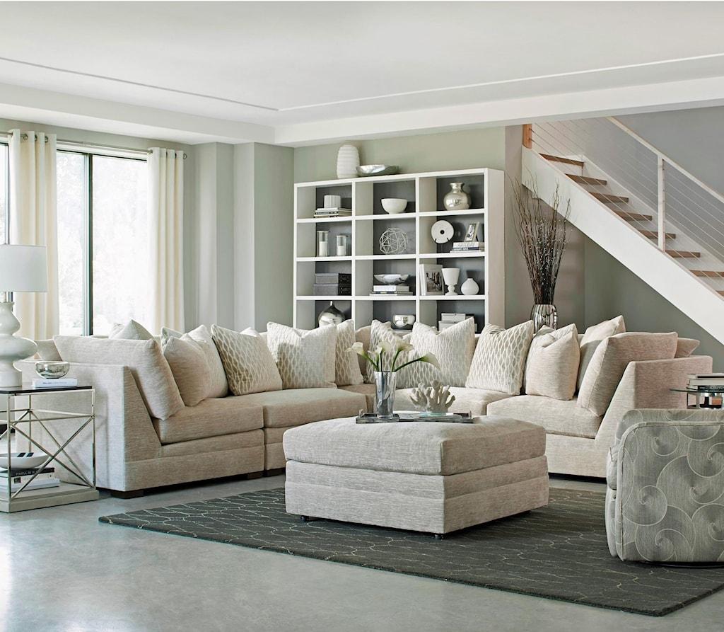 Huntington House 7100 Godfrey Five Piece Armless Sectional Sofa  ~ Five Piece Sectional Sofa
