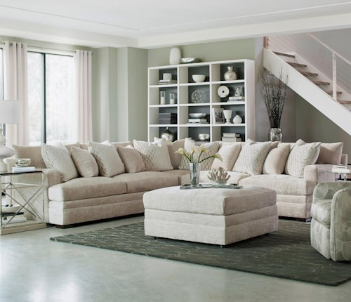 Huntington House 7100 Contemporary L-Shape Sectional with Track Arms