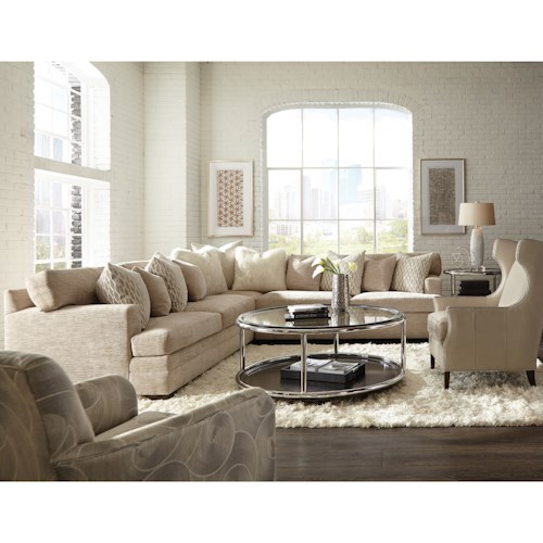 Geoffrey Alexander 7100 Contemporary L-Shape Sectional with Track Arms and Boxed Back Cushions