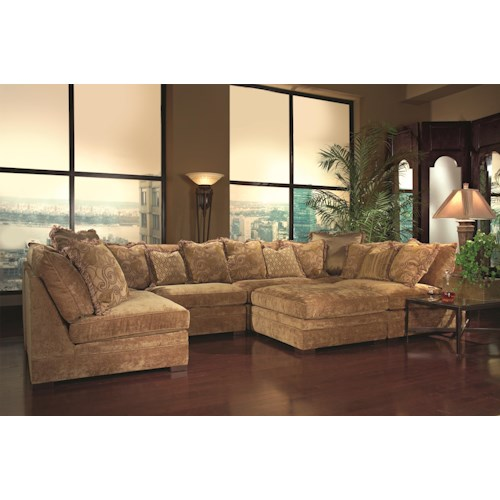 Huntington House 7100 Godfrey Contemporary Sectional Sofa with Accent Pillows