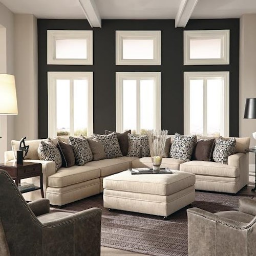 Huntington House 7100 Godfrey Contemporary L-Shape Sectional with Track Arms