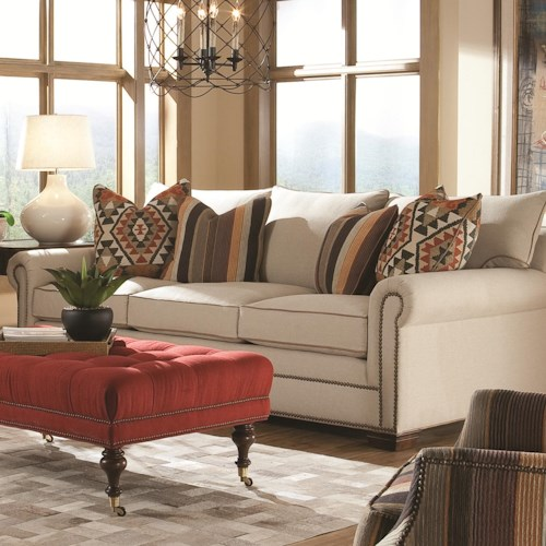 Huntington House 7107 Roll Arm Fabric Sofa