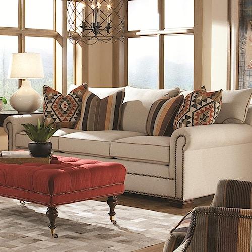 Huntington House 7107 Roll Arm Fabric Sofa
