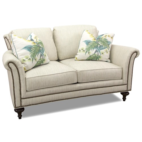 Huntington House 7162 Loveseat with Elegant Turned Leg