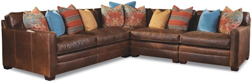 Huntington House 7164 4 Seater Sectional with Track Arms and Block Feet