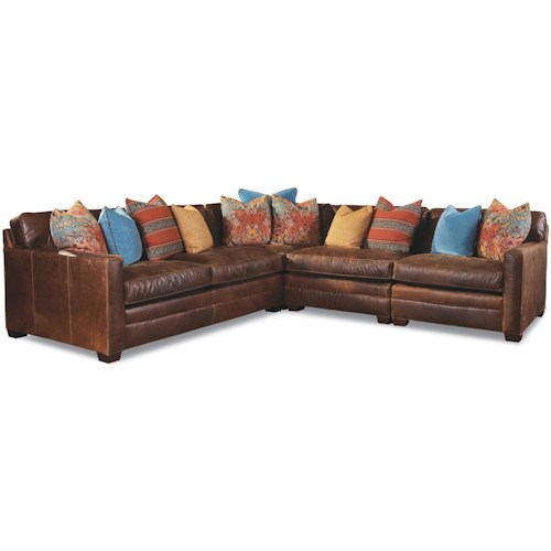Geoffrey Alexander 7164 4 Seater Sectional with Track Arms and Block Feet