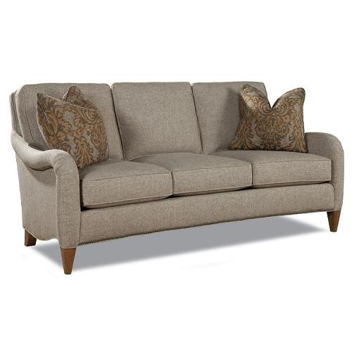 Huntington House 7180 Transitional 3 Seat Sofa with English Arms and Tapered Feet