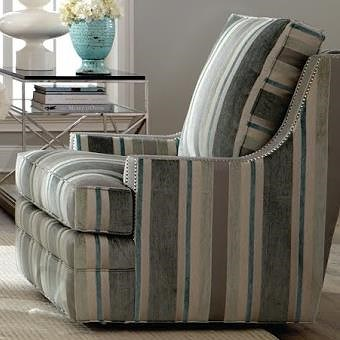 Geoffrey Alexander 7202 Chair with Scooped Arms and Nail Head Trim
