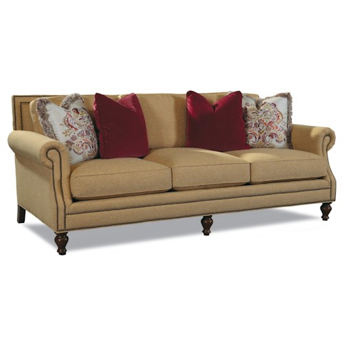 Huntington House 7220 3 Leg Sofa with Rolled Arms and Nail Head Trim