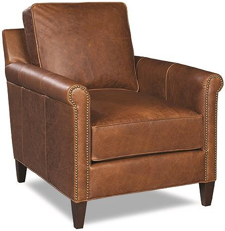 Huntington House 7241 Upholstered Chair with Exposed Wooden Legs and Nail Head Accent