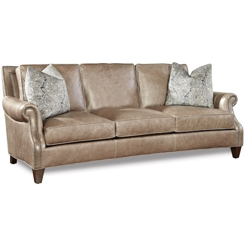 Huntington House 7249 Transitional Sofa with Rolled Arms and Nailhead Trim