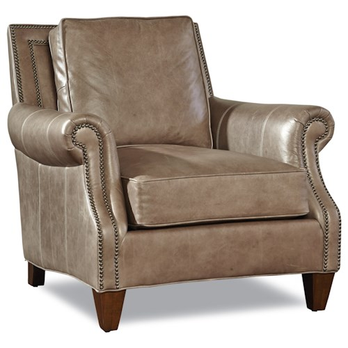 Huntington House Johnson Transitional Chair with Rolled Arms and Nailheads