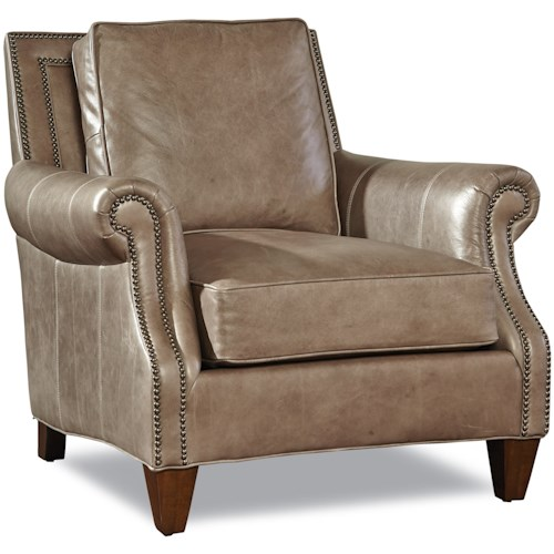 Geoffrey Alexander 7249 Transitional Chair with Rolled Arms and Nailheads