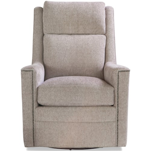 Huntington House 7286 Casual Upholstered Swivel Chair with Nailhead Trim