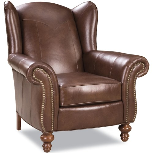 Geoffrey Alexander 7339 Traditional Wing Back Chair with Exposed Wood Feet