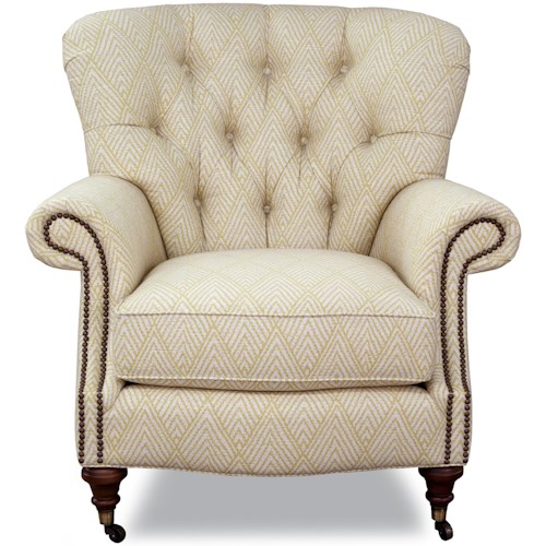Geoffrey Alexander 7366 Traditional Upholstered Chair with Tufted Back, Nail Head Trim and Casters