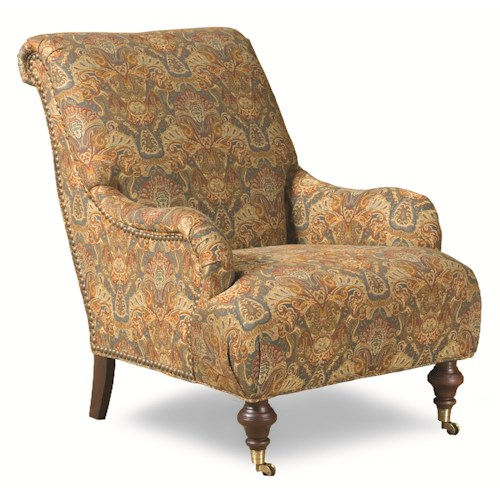 Huntington House Burbank Traditional Roll Back Chair with English Arms and Casters
