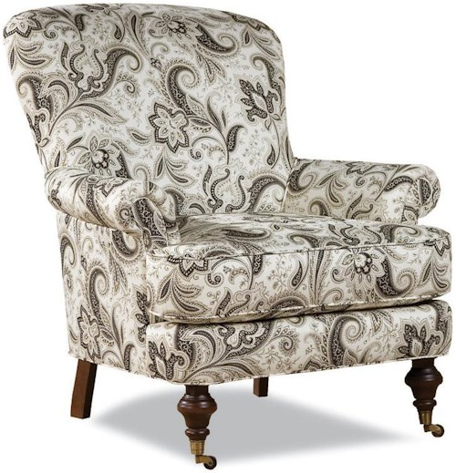 Huntington House 7384 Traditional Chair with Rolled Arms and Casters