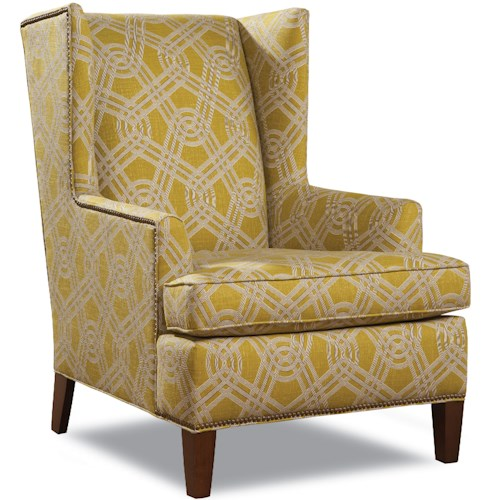 Huntington House 7406 Contemporary Wing Chair with Tapered Wood Legs