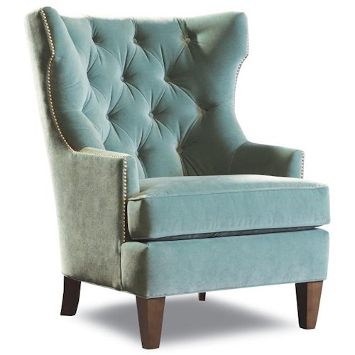 Huntington House Roberts Transitional Upholstered Wing Chair with Tufted Back