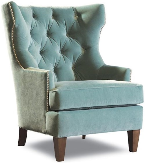 Huntington House 7413 Transitional Upholstered Wing Chair with Tufted Back