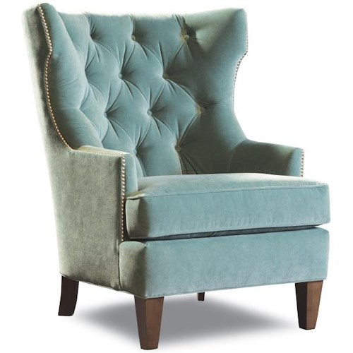Geoffrey Alexander 7413 Transitional Upholstered Wing Chair with Tufted Back