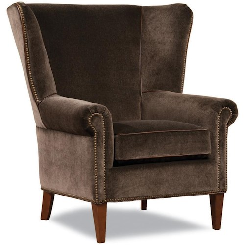 Geoffrey Alexander 7418 Transitional Chair with Flared Wing Back and Nailhead Trim