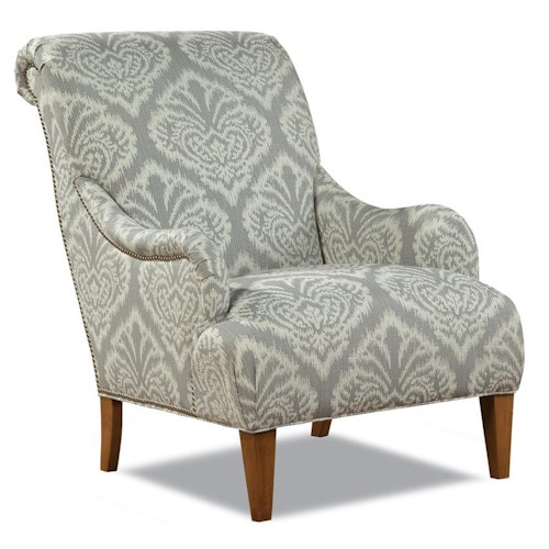 Huntington House Palermo 7434 Contemporary Rolled Back Arm Chair with Nailhead Trim