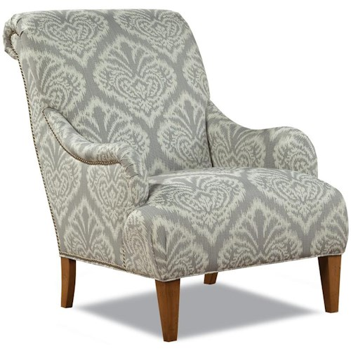 Geoffrey Alexander 7434 Contemporary Rolled Back Arm Chair with Nailhead Trim