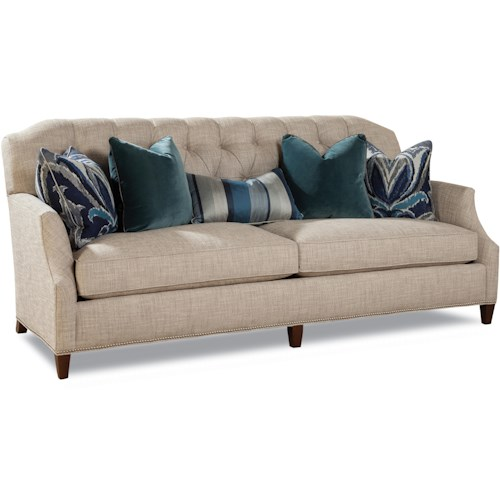 Huntington House 7438 Carter Transitional Stationary Sofa with Button-Tufted Back