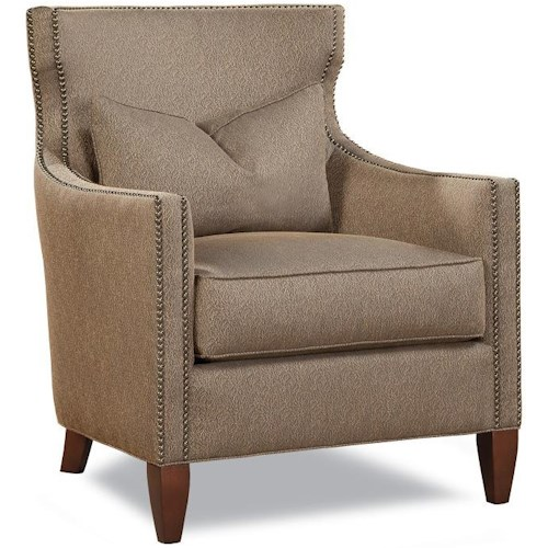 Geoffrey Alexander 7451 Upholstered Chair with Nail Head Trim and Wood Legs
