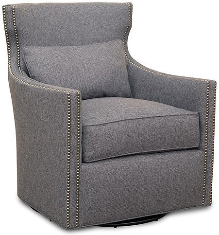 Huntington House 7451 Contemporary Swivel Upholstered Chair with Nailhead Trim