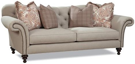 Huntington House 7469 Classic Button Tufted Sofa with Rolled Arms