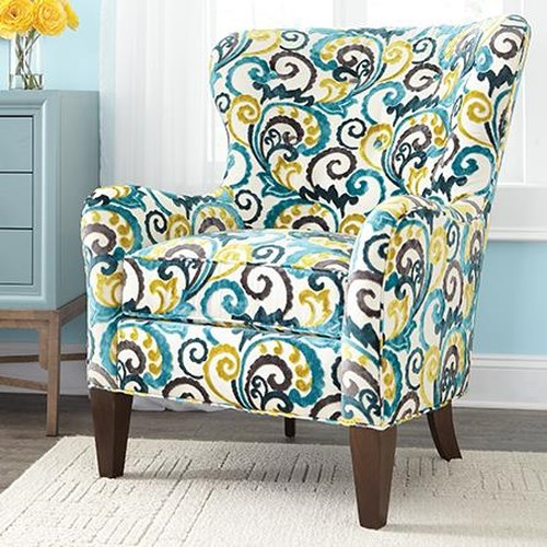 Huntington House 7475 Traditional Wing Back Accent Chair with Tapered Legs