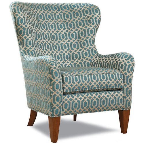 Geoffrey Alexander 7475 Traditional Wing Back Accent Chair with Tapered Legs