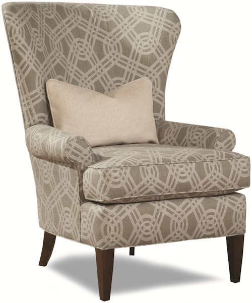 Huntington House 7491 Traditional Accent Chair with Curved Wing Back