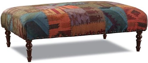 Huntington House 7705 Traditional Ottoman with Turned Legs