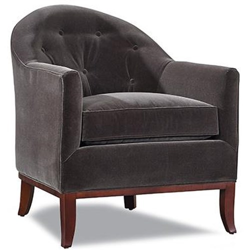 Huntington House 7718 Upholstered Chair with Flared Exposed Wooden Legs and Button Tufted Back