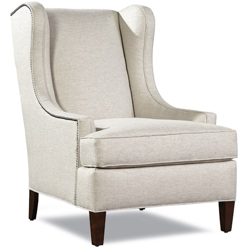 Huntington House 7735 Transitional Wing Chair with Nailhead Border