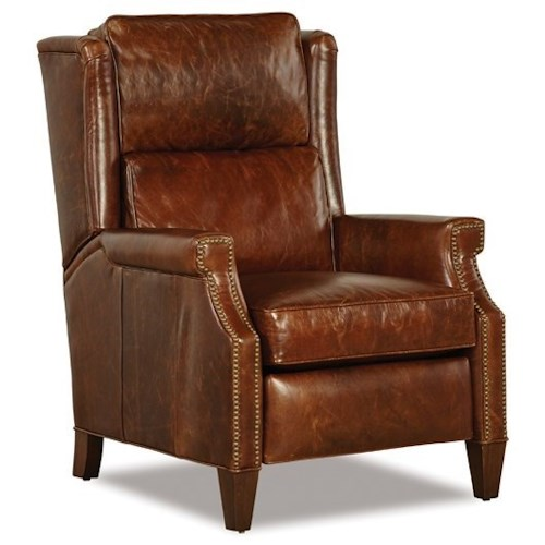 Huntington House 8110 Transitional High Leg Recliner with Wing Back and Nailhead Studs