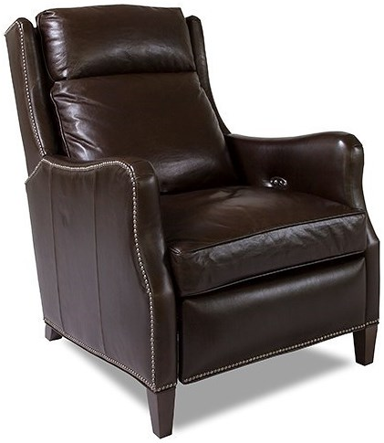 Huntington House 8114 Traditional Power Reclining High Leg Recliner with Nailhead Accents