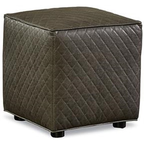 Huntington House Ottoman Collection Small Ottoman with Exposed Wooden Feet and Stitching Detail