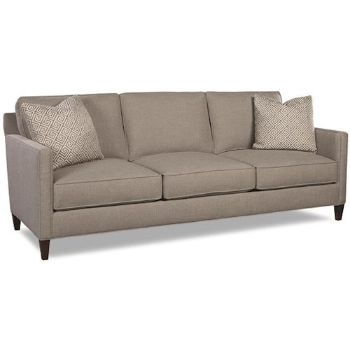 Huntington House Rosa 3-Cushion Sofa with Track Arms and Exposed Wooden Legs