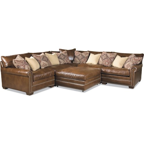 Huntington House 7107 Traditional Sectional Sofa With Nailhead Trim