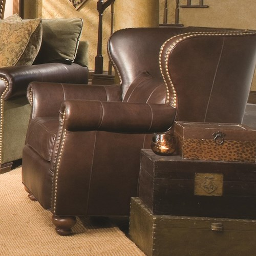 Huntington House 7107 Ryan Traditional Wing Chair with Nailhead Trim