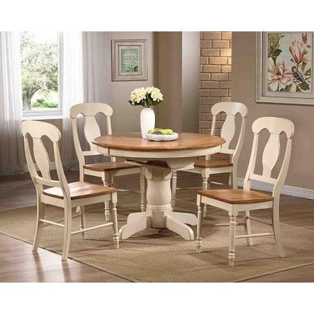 5 piece round expandable table with napoleon