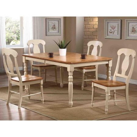 5 Piece Dining Set with Splat Back Chairs