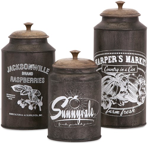IMAX Worldwide Home Bottles, Jars, and Canisters Darby Metal Canisters - Set of 3